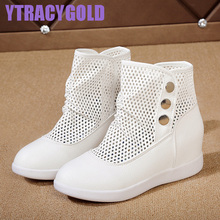 YTracyGold Brand Summer Women Boots Height Increasing Solid Casual Shoes zapatillas Breathable Ankle Superstar Boots Women Flats