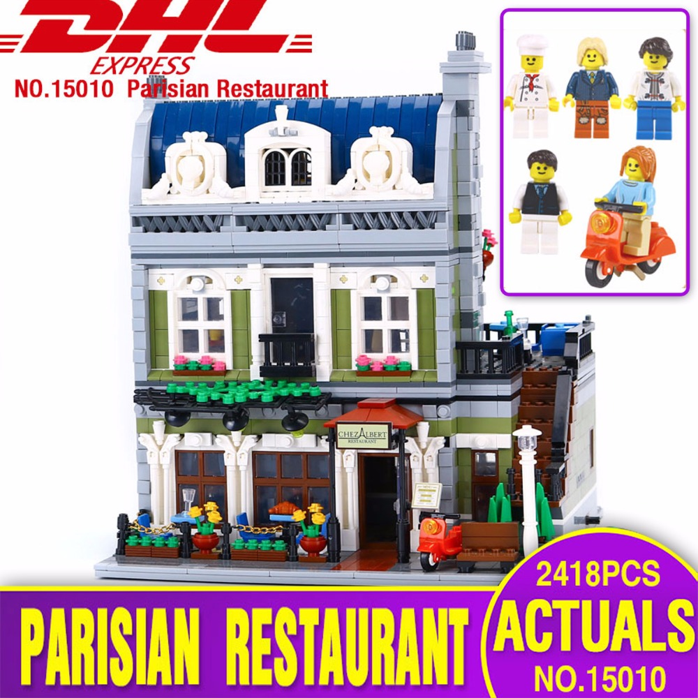 DHL Lepin 15010 Expert City Street Parisian Restaurant Model Building Kits Blocks Children Toys Compatible legoing 10243 model lepin 02012 city deepwater exploration vessel 60095 building blocks policeman toys children compatible with lego gift kid sets