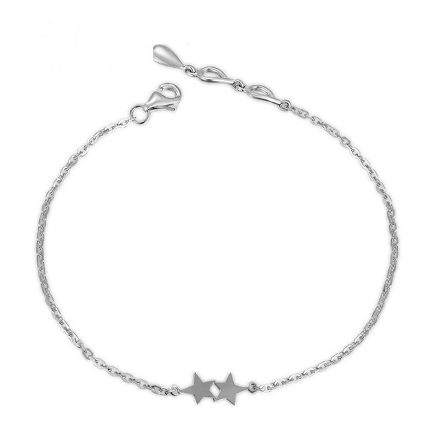 18K White Gold Bracelet for Women 18cm Solid K Gold Wedding Party Star Charm Bracelet Handmade Fine Jewelry