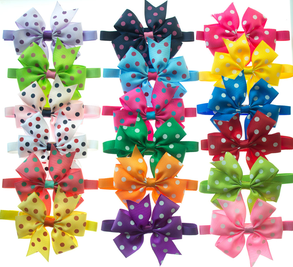 50pcs Polka Dots Pattern Dog Bow Ties Adjustable Large Bowknot Pet Cat Bowties Neckties Pet Puppy Dog Ties Accessories