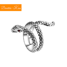 King Cobra Adjustable Ring Copper-alloy Material 30 Silver Inlaid Red Zircon Rings Fashion Trendy Women Jewelry Birthday Gift cheap Metal Engagement Classic geometric Diamond-001 Bridal Sets Prong Setting Double kim