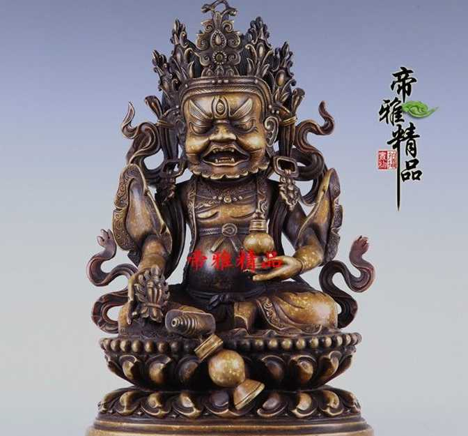 Tibet Buddhism Bronze Copper Gild Dzambala Wealth Yellow Jambhala Buddha StatueTibet Buddhism Bronze Copper Gild Dzambala Wealth Yellow Jambhala Buddha Statue