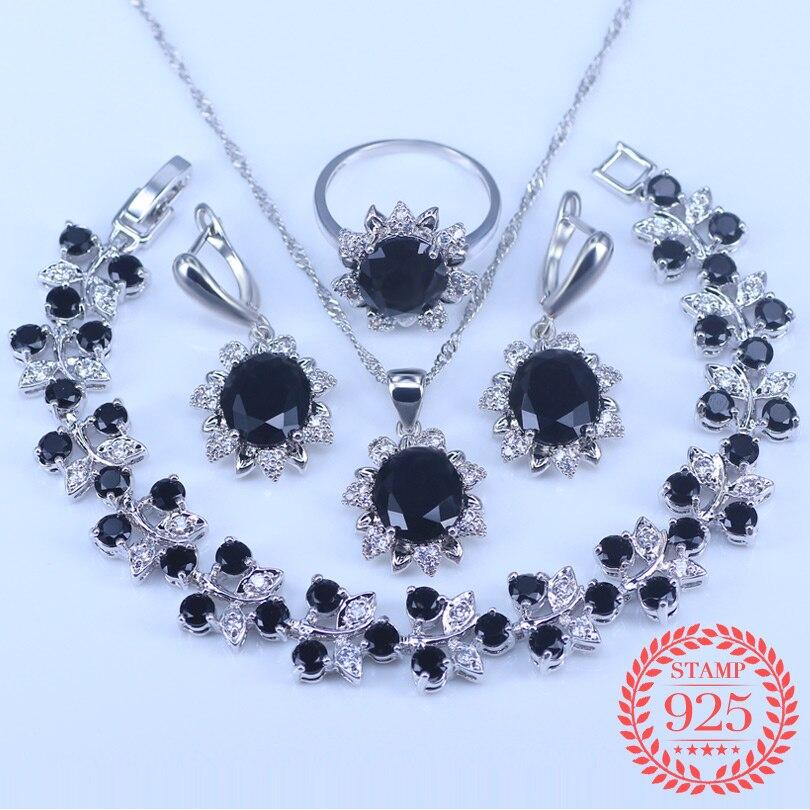 83fa505b1539 Negro piedras blanco Cubic Zirconia 925 joyería de plata esterlina  establece para las mujeres de la