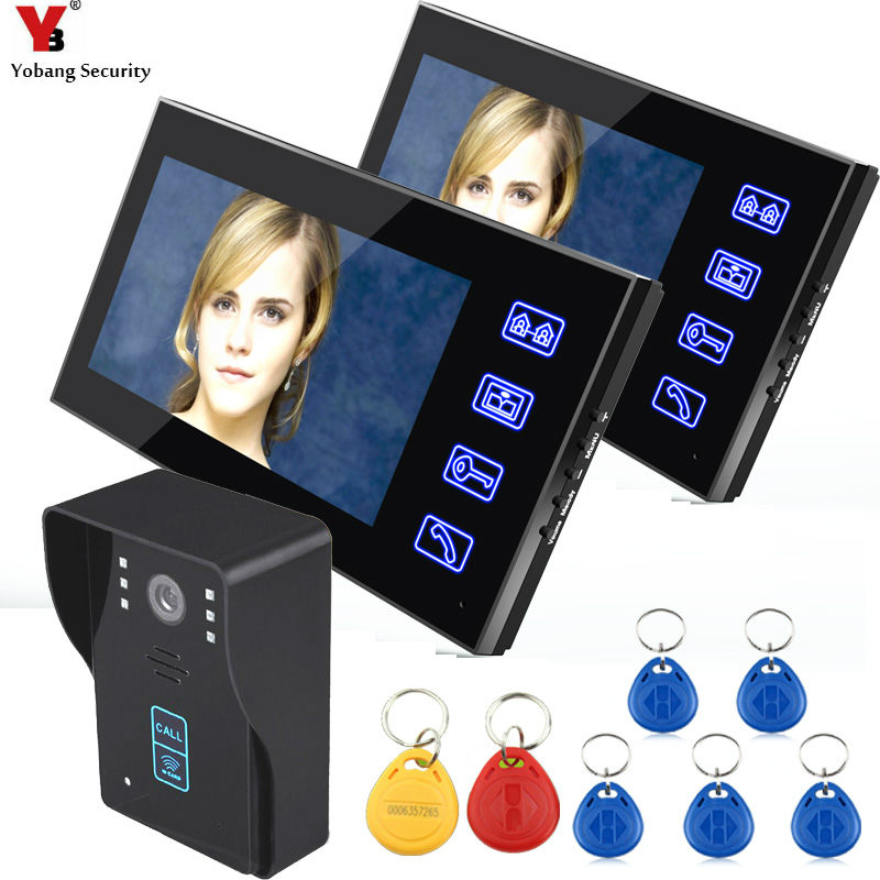 Yobang Security Freeship 7 Inch Video Door Phone RFID Doorbell Camera Call And Dual Intercom Waterproof Door Video intercom