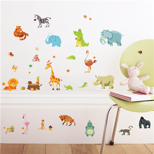 Safari Nursery Rooms Baby Home Decor Poster Jungle Adventure Animals Wall Stickers For Kids RoomsMonkey Wall Decals Wallpaper