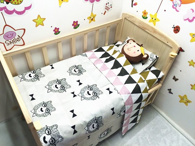 Promotion! 3PCS Baby bedding set Cartoon crib bedding set 100% cotton bed decoration,include(Duvet Cover/Sheet/Pillow Cover)