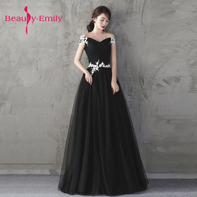 Beauté Emily charmante noir formelle fête robes de soirée fête robe de bal fleur décorée vestido de noite