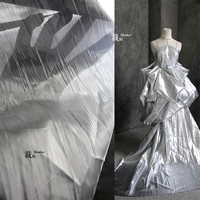 Nordic high grade tear off silver yarn pleated cloth down jacket designer fabric for patchwork telas patchwork algodon