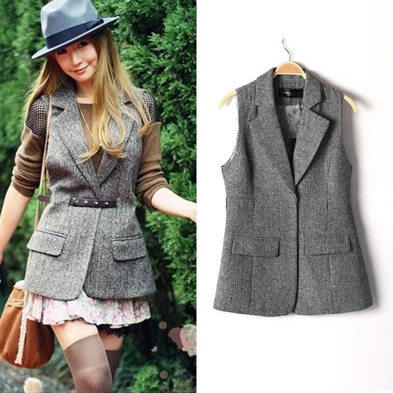 071de8e3a8b British Style Plus Size Autumn and Spring Slim Woolen Suit Vest Women  Herringbone Waistcoat