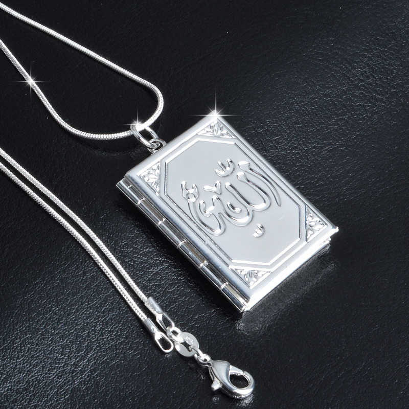 925 Sterling Silver Collar Carve Flower Totem Square Locket Pendant Necklace Can Open Put Photo Personality Necklaces