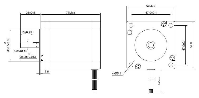 Nema 23 Stepper Motor 1.9Nm 2.8A 4 wires 6.35mm Shaft DIY