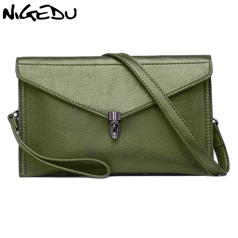 NIGEDU genuine leather bag women messenger bag Women's Clutches Soft Cowhide ladies envelope clutch bag Handbags Small bolsa big fashion women messenger bags soft pu black leather handbags crossbody bag for women girl summer clutches envelope small bag