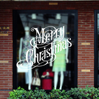 New Arrival White Merry Christmas English Letters Wall Window Sticker Decals Removable Living Waterproof Fashion DIY
