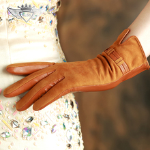 Women Suede Leather Gloves Top Quality Winter Warm Genuine Short Five Finger Driving 96