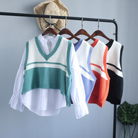 2017 Spring Autumn Loose Female Striped Sweater Vest Sweater Vest V Neck Cotton Vest Waistcoat Pullovers