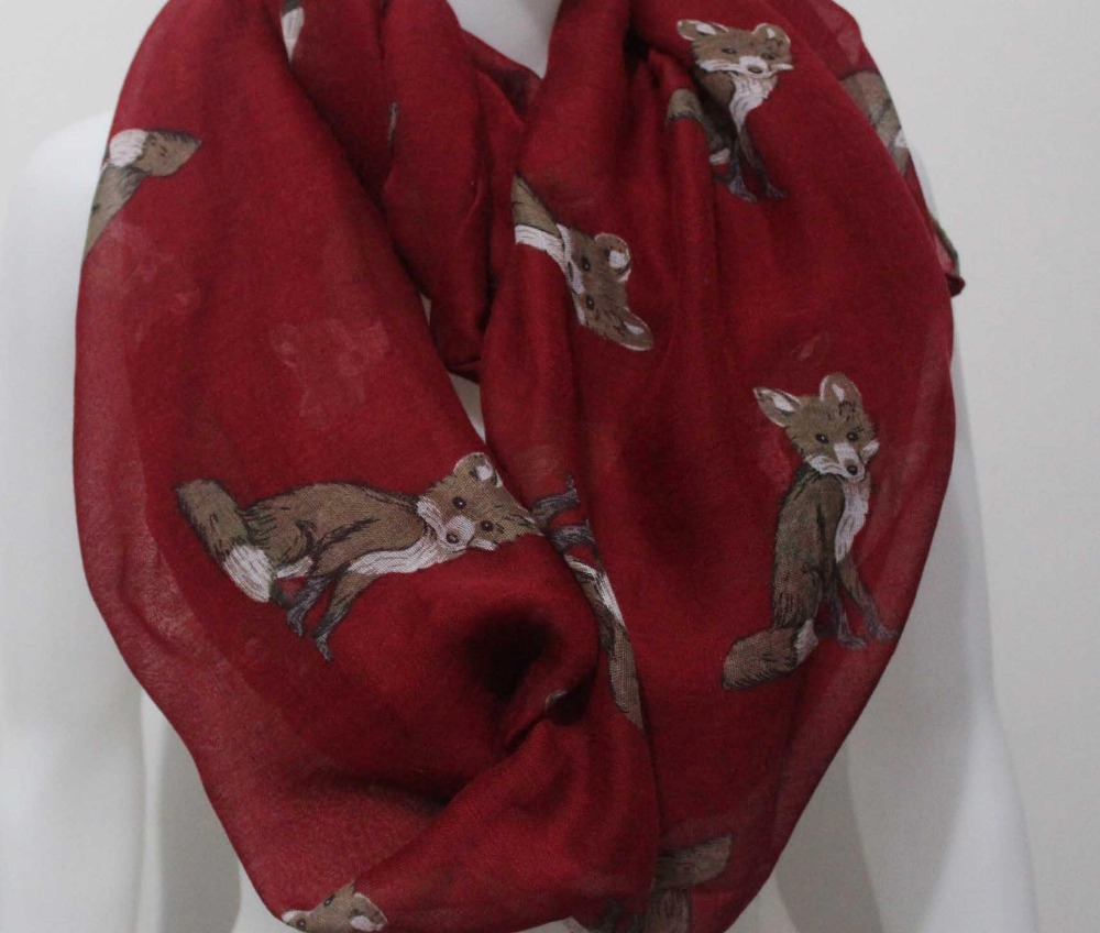 Free Shipping 2019 New Fashion Cute Fox Animal Print Ring Scarf For Women/Ladies/Girls