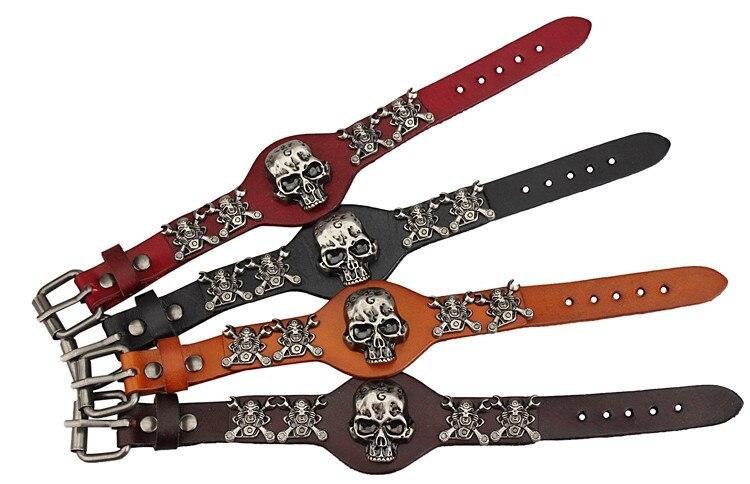 New Design Jewelry Multicolor Punk Rock Evil Skull Genuine Leather Wrap Bracelet for Women Men Ride Wristband Bracelets Cuff 1