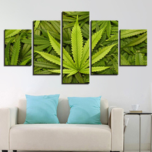 5 panel canvas art print pure and fresh green plant HD decorative painting pictures wall leaves foliage home decor