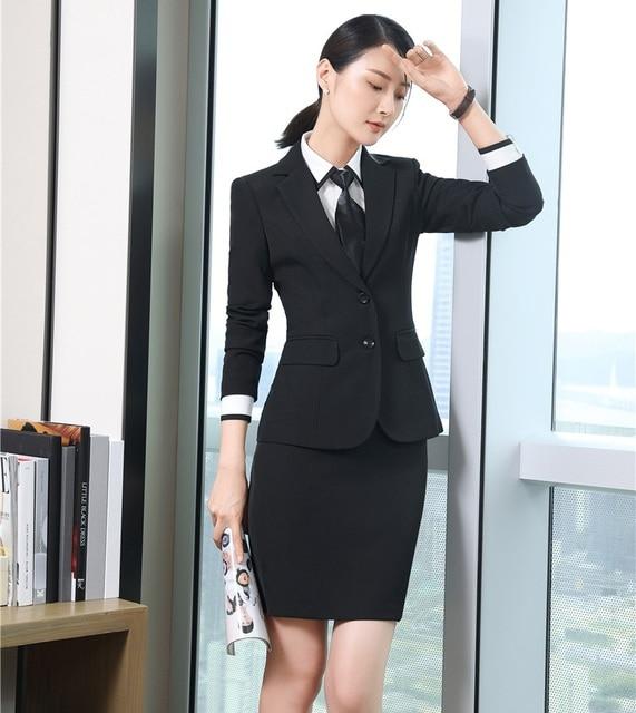 05df8d007 Formal negro blazer mujeres Trajes con falda y chaqueta Sets elegante  desgaste del trabajo del negocio
