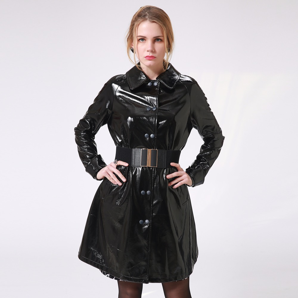 Zevrez Women Autumn Winter Long   Leather   Jackets 2018 Long Sleeve Sexy Black Patent   Leather   Coat 4XL Female