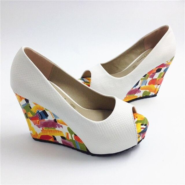 Mulheres sapatos de salto alto cunhas dedo aberto bombas sapatos de plataforma feminina 30 31 32 33 41 42 43 sys-602