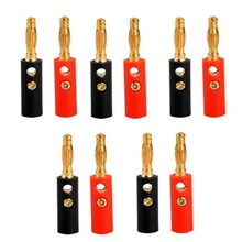Top Quality 10pcs 4mm Audio Speaker Screw Banana Gold Plate Plugs Connectors Converter Speaker extension
