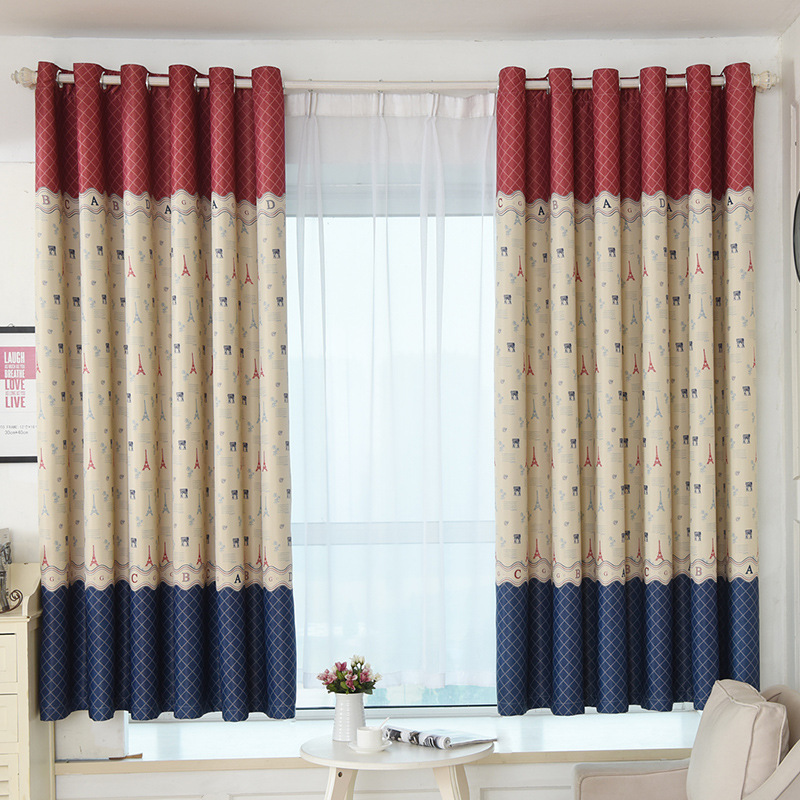 American Short Curtains for Living Room Window Roman Curtains for Kitchen Divider Door Drapes Childrens Bedroom Single Panel