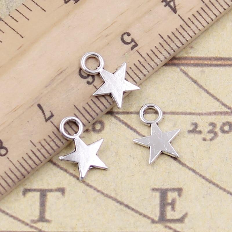 30pcs Charms Star 11x8mm Tibetan Silver Color Pendants Antique Jewelry Making DIY Handmade Craft(China)