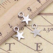 30pcs Charms Star 11x8mm Tibetan Silver Color Pendants Antique Jewelry Making DIY Handmade Craft