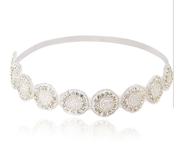 Metting Joura Women Girls Bohemian White Crystal Rhinestone Flower Bride Bridal Wedding Elastic Headband Hair Accessories vintage bohemian ethnic colored tube seed beads flower rhinestone handmade elastic headband hair band hair accessories