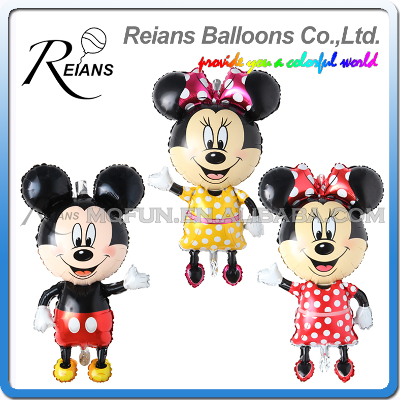 114cm Giant red Mickey Minnie mouse, shape Balloon, Cartoon Foil baby birthday Balloon decorations party ballons balloons favors