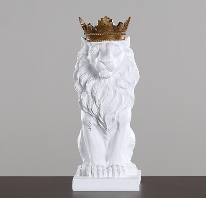 Resin Black Lion with Gold Crown Statue Handicraft Home Sculpture Decoration