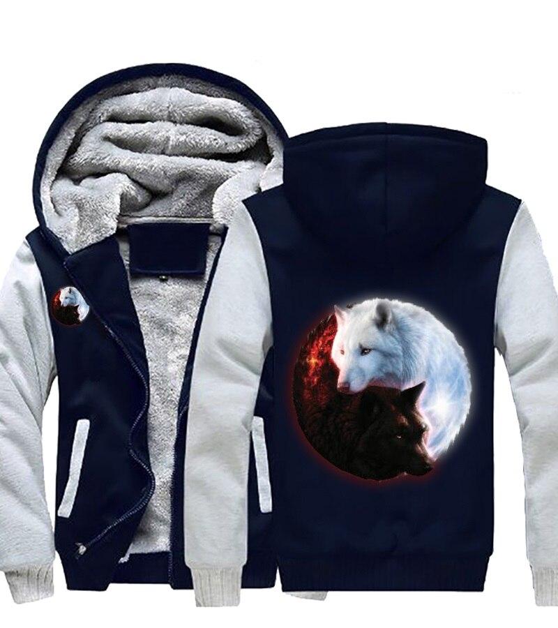 Dropshipping Men Women Fire Ice wolves Game of Thrones Hoodies Zipper Sweatshirts Wolf Jacket Warm Winter Thicken Coat