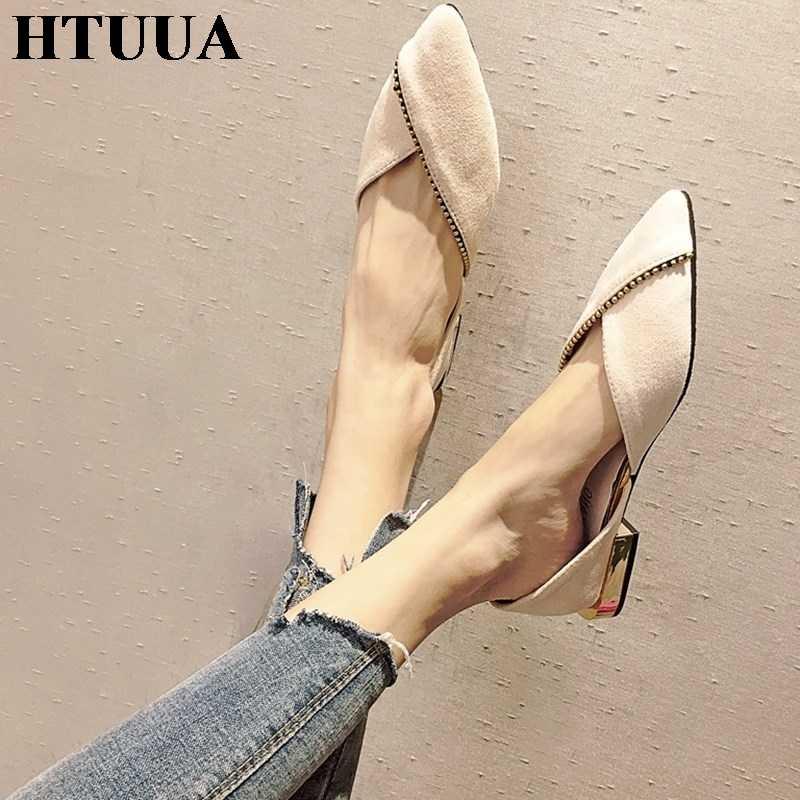Htuua 2019 Новинка весны женская обувь на плоской подошве женские балетки Лоферы без застежки острый носок Повседневное эспадрильи женская обувь SX2059
