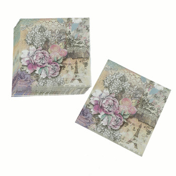 20pcs Printed Feature Rose Paper Napkins For Event & Party Decoration Tissue Decoupage Servilleta Summer Party Supplies vintage printed rose flower dragonfly paper napkins for event