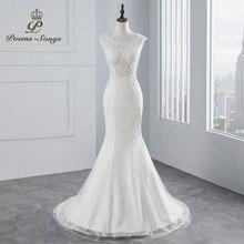 PoemsSongs תמונה אמיתית חדש סגנון סקסי חזה בת ים חתונה שמלה 2020 לא שרוולים תחרה חתונת שמלת Vestido דה noiva