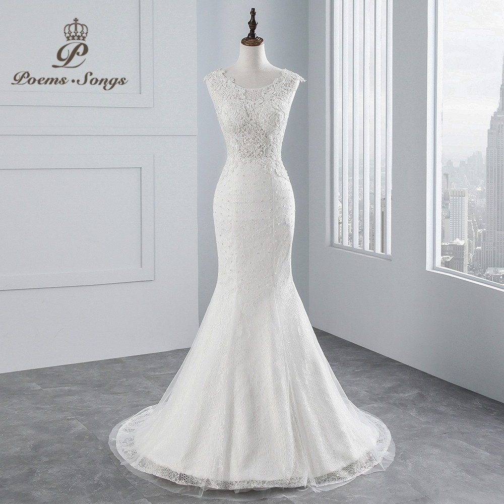 PoemsSongs real photo 2018 new style Sexy chest Mermaid wedding dress  No sleeves lace Wedding Gown Vestido de noiva-in Wedding Dresses from Weddings & Events