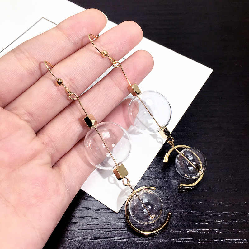 New Transparent Ball Long Earrings Women Statement Earrings Fashion Jewelry Party Street Style Bijoux Accessories