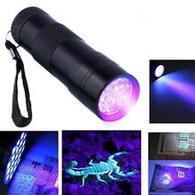 Hot Sale Portable Aluminum 9Led UV Flashlight Violet Light F