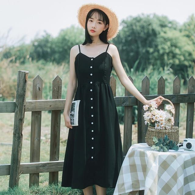 2018 Women s Sundresses Japan Retro Casual Harajuku Ulzzang Button Sliding  Dress Female Cute Korean Kawaii Dresses fb339a909