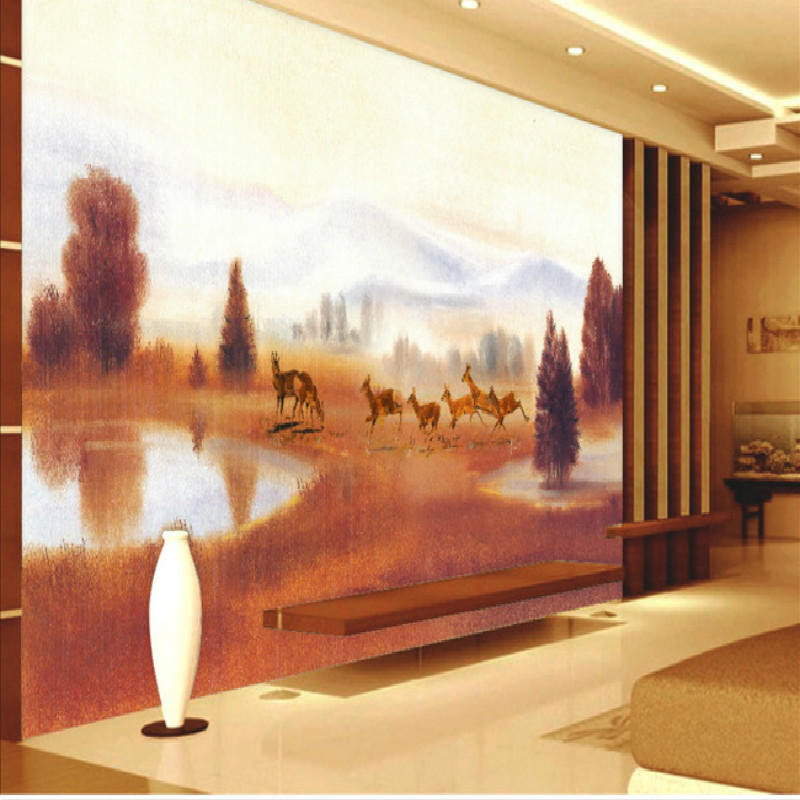 Painting prairie deer pond large mural 3d wallpaper for Deer mural wallpaper