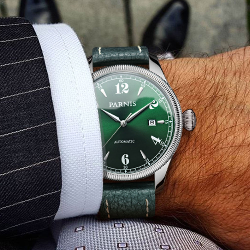 42mm Parnis Grün Zifferblatt Saphirglas Datum Luxus Marke Miyota Uhr herren Uhr in Automatische Mechanische Uhren-in Mechanische Uhren aus Uhren bei  Gruppe 1
