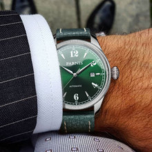 42mm Parnis Green Dial Sapphire Glass Date Luxury Brand Miyo