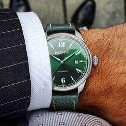 42mm Parnis zielona tarcza szafirowe szkło data luksusowa marka Miyota zegarek męski zegarek w automatycznych zegarkach mechanicznych