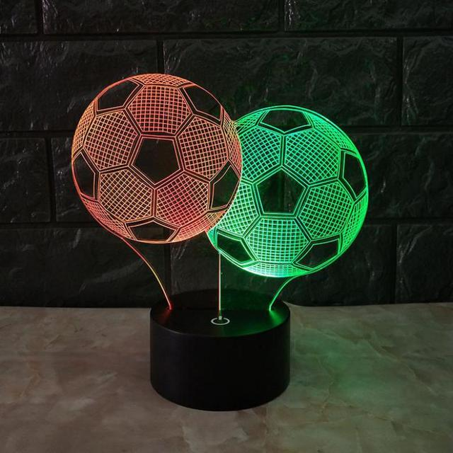 Football 3d Visual Night Desk Lamp Creative 7 Color Touch Charging  Deco Lamps Lovely 7 color change 3D Lamp
