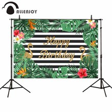 Allenjoy photography Flamingo backdrop Summer birthday party flower leaves background photo studio photophone photocall decor