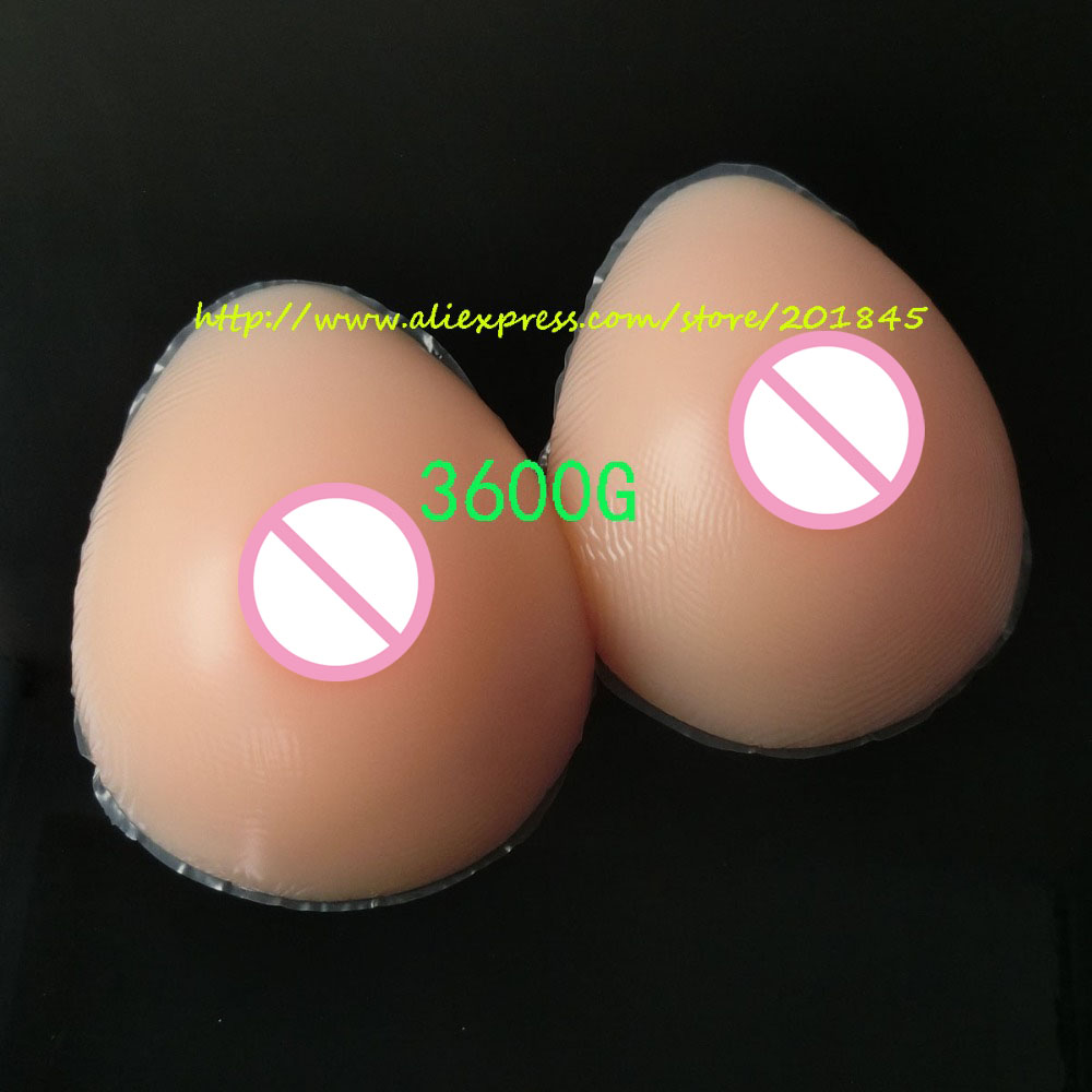 Hot Selling 3600g/Pair Teardrop Soft Silicone Breast Form Artificial Fake False Not Adhesive Boobs Enhancer For Crossdresser hot selling soft silicone breast