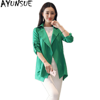 AYUNSUE Spring Summer Women's Windbreaker Plus Size Black Trench Coat Women Overcoat Womens Clothing Abrigo Mujer 2019 KJ369