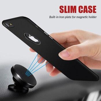 Téléphone étui pour iphone X 6 6 s Plus Housse 360 Protection PC dur étui pour iphone 7 8 Plus Construit en Magnétique support pour voiture En Métal Plaque