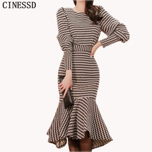 CINESSD Sexy Mermaid 2 Pieces Suits Maxi Dress Women 2019 Winter O-neck Long Lantern sleeve Mid-calf Hip Party Dresses Vestidos